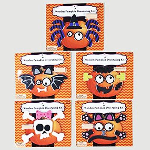 Wood Pumpkin Decorating Kit (Set of 5) Skull Bat Spider Cat Frankenstein by Regent (Image #1)