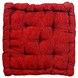 Story@Home Stylish Square Car Sofa Office Seat Chair, Cozy Cushion Pad 1 PC Corduroy Chair Pad 15 inch X 15 Inch- Maroon