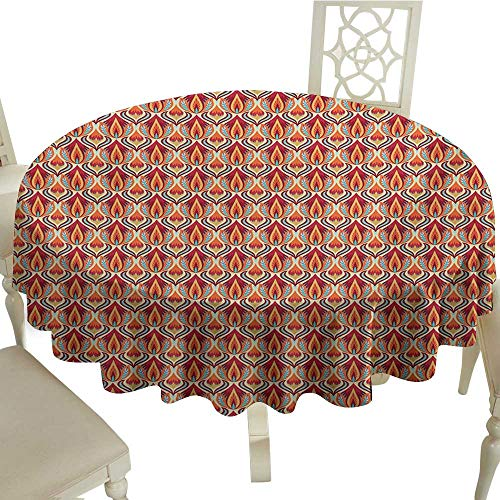 (Round Tablecloth Wood Retro,Nature Inspired Abstract Repeating Motifs Curvy Leaves and Petals Antique Rococo,Multicolor D54,for Accent Table )