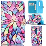 Motorola Moto X Play Case, Moto X Play Case,Gift_Source [Colorful Totem Flower Petals]Luxury Wallet PU Leather Case Flip Cover Built-in Card Slots Flip case Pattern For Motorola X Play