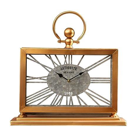 SESO UK- Reloj de Mesa Retro Americano Creativo Escritorio silencioso Relojes Decorativos para la Sala
