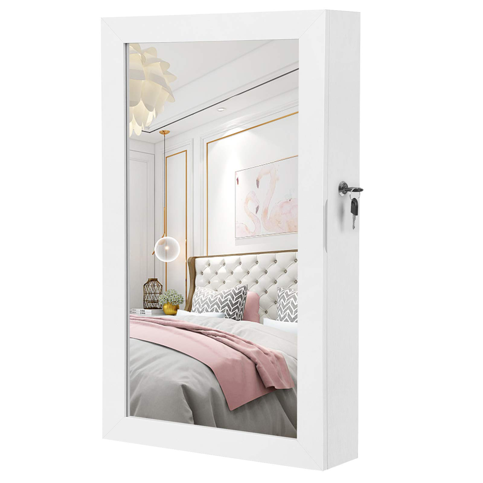 SONGMICS Lockable Jewelry Cabinet Armoire with Mirror, Wall-Mounted Space Saving Jewelry Storage Organizer White UJJC51WT