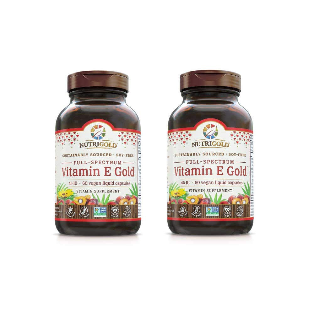 Nutrigold Full-Spectrum Vitamin E Gold from Sustainably Sourced Sunflowers and Red Palm Oils Supporting Skin, Eye Heart, Brain and Immune Health 45 IU Per Serving (60 Vegan Liquid Capsules) Pack of 2