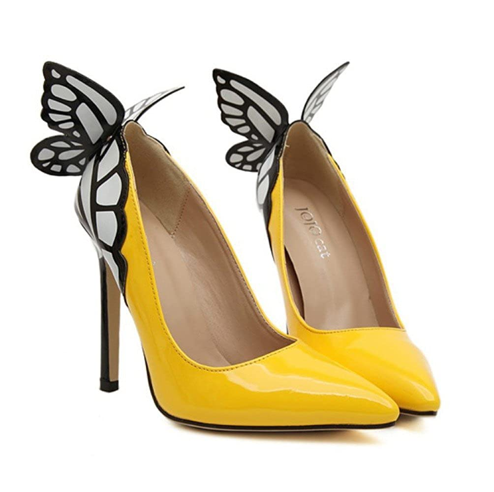 ZYQME Neue Neue Neue Damen Schmetterling High Heels Damen Court Schuhe Floral Slip-On Spitzschuh Flache Schuhe Größe 55c9e4