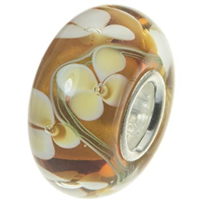 Solid 925 Sterling Silver Clear and Orange Crystal Flower Pattern Charm Bead for European Snake Chain Bracelets