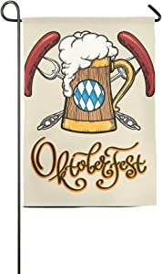 amuseds Beer Mug Oktoberfest Emblem Garden Flag Yard Decorations-It's Alway 5 O'clock Here Flag for Outdoor Use 100% Waterproof Polyester Flags