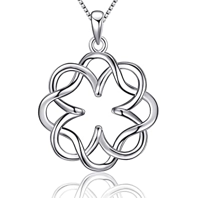 554d48ad9be97 EURYNOME 925 Sterling Silver Endless Love Vintage Irish Celtic Knot Pendant  Necklace for Women Girls