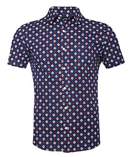Men's Casual Short Sleeve Printing Pattern Button Down Shirts Blue&Star (Free Island Tiki Bar)