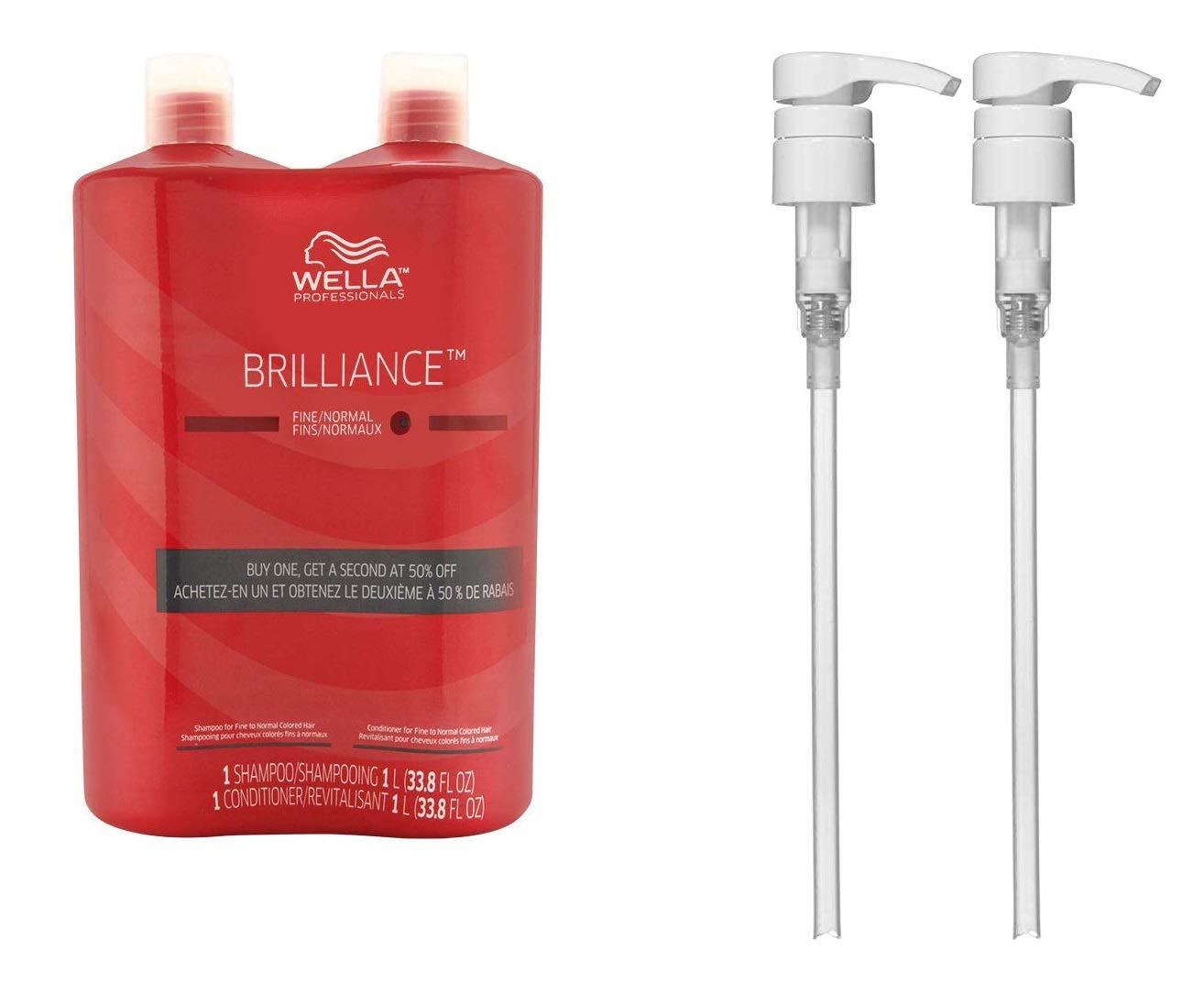 Bundle -4 Items : WELLA Brilliance Shampoo & Conditioner Fine to Normal Coloured Hair, Liter Duo 33.8 Oz + Wella liter pumps (2) by Wella
