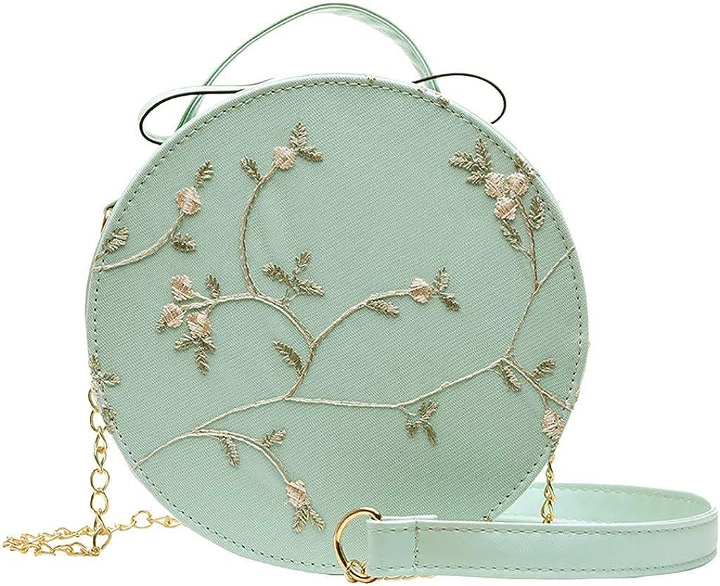iHAZA Femmes Fashion Lace Fresh Sac bandouli/ère Petit sac rond de couleur unie