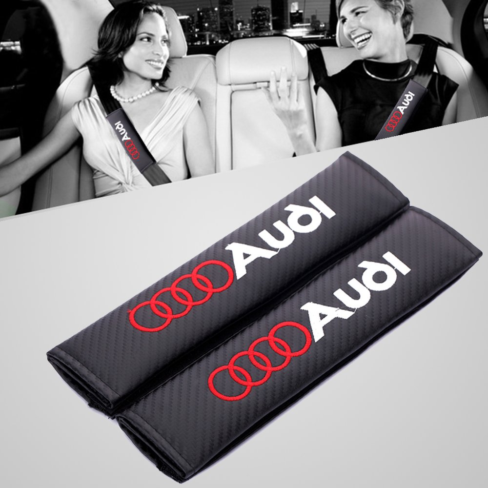2pcs Protectores de hombro para cinturón almohadillas de cinturón de seguridad Audi Logo OPAYIXUNGS