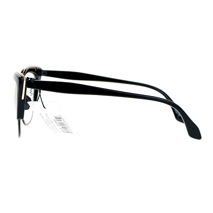 Amazon.com: Retro Moda claro lente anteojos Womens mitad Rim ...