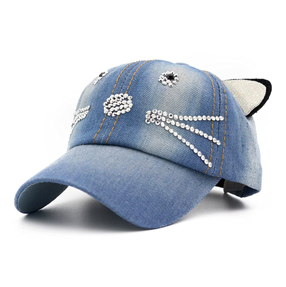 Baseball Cap Hip-Hop Kids Cat Ears Crystal Spring Summer Hat DB-Children hat DH1223