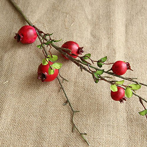 Artificial flower,Fake Rose Fruit Pomegranate Berries Bouquet Long Dry Branch Floral For Garden Home Decor (Red) by MaxFox (Image #3)