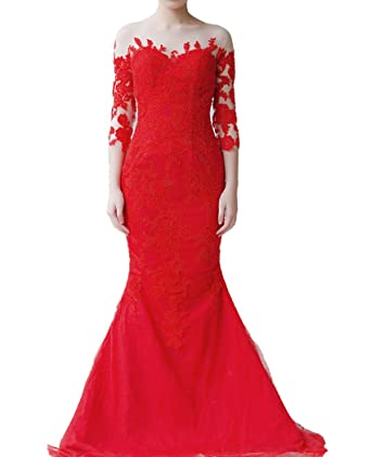 QiJunGe 3/4 Sleeves Mermaid Prom Dresses Lace Appliques Formal Evening Gowns Red US 2