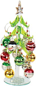 DEI Art Glass Snow Tree & Wine Charm Set