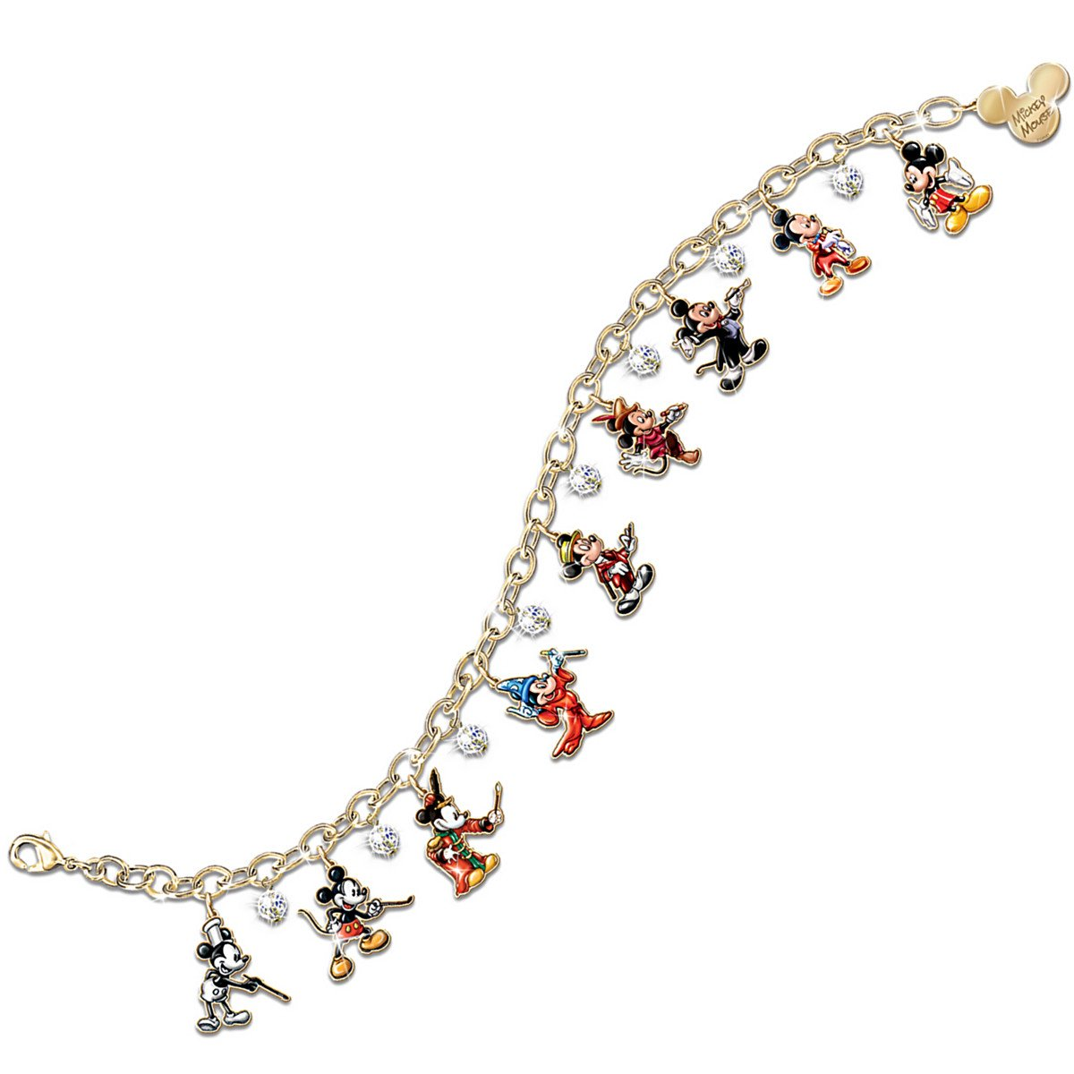 Disney Mickey Mouse Through The Years 24K Gold-Plated Charm Bracelet by The Bradford Exchange