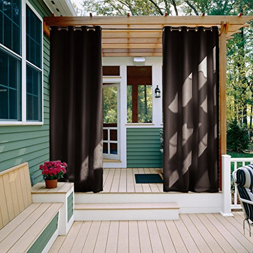 NICETOWN Outdoor Curtain 108 Length - Waterproof and Light Blocking Drapes, Thermal Insulated Grommet Top Outdoor Curtain for Porch (1 Panel,52 inches Wide, Toffee Brown) (Small Furniture Ideas Front Porch)