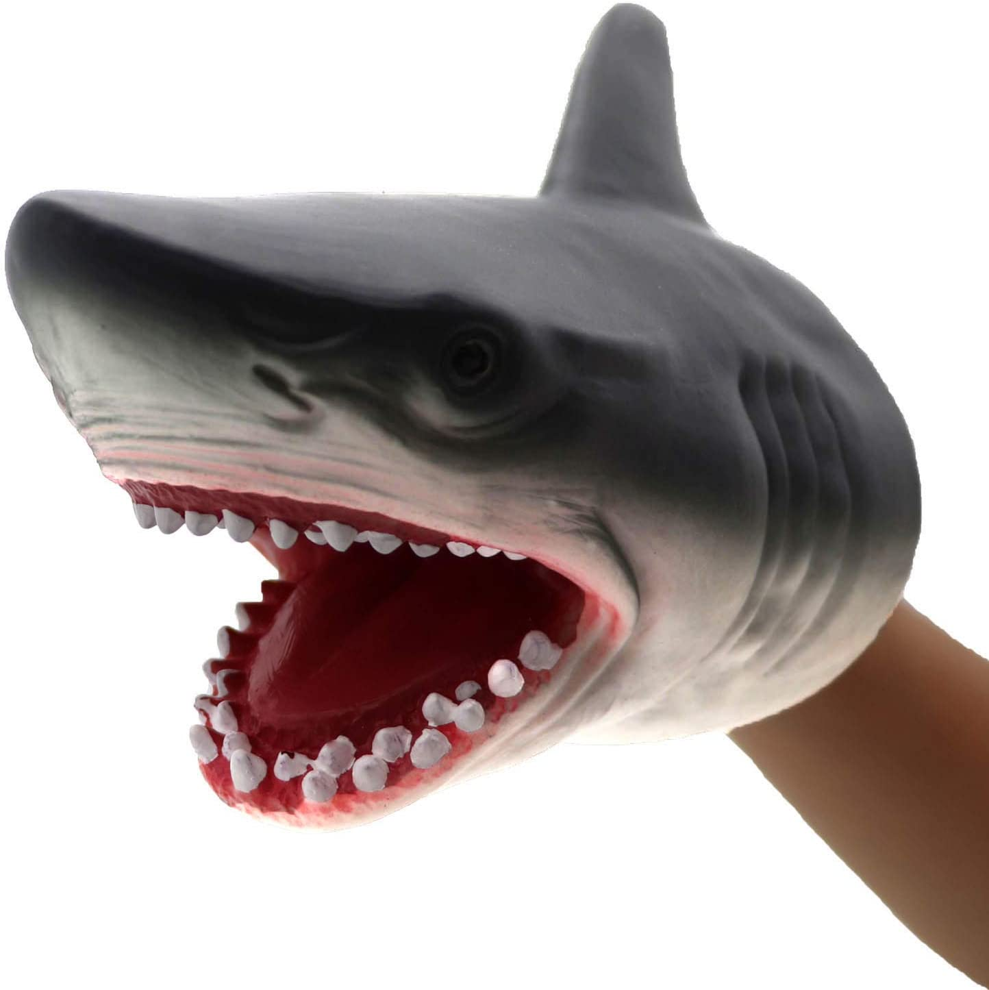 ifkoo Shark Hand Puppet Realistic Soft Rubber Jaws Dolphin Sea Animal Head Party Plush Toy for Adult and Kids (Shark)