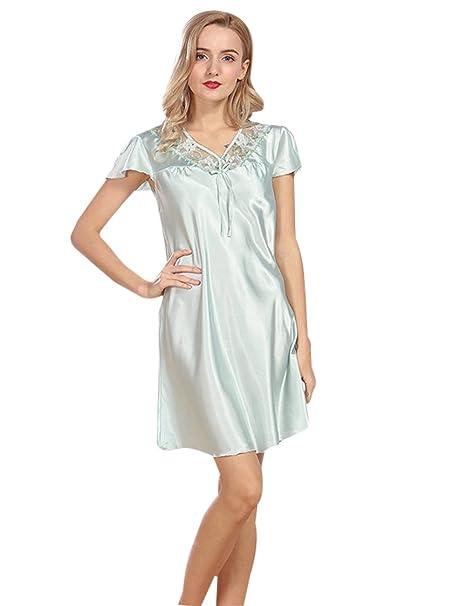 Menschwear Mujer Pijama Camisón Sleep tee Sleep Camisa Manga Corta de Dormir (Azul)