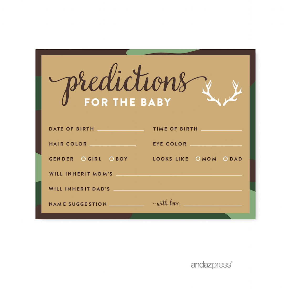 Andaz Press Woodland Camouflage Boy Baby Shower Collection, Games, Activities, Decorations, Predictions for Baby Cards, 20-pack