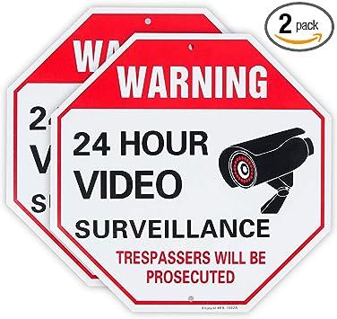 "2 Pack 12/""x12/"" Aluminum Waterproof 24 Hours Video Surveillance Security Sign"
