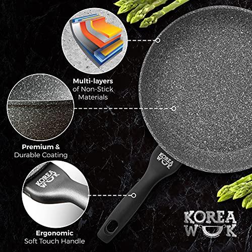 Nonstick Frying Pan Induction - Flat Bottom, Cast Aluminum 11 inch Pan, Gray