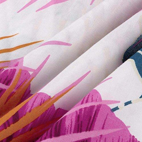 Solike Sommerkleid Damen V-Ausschnitt Spaghettiträger Schulterfrei Blumendruck Kleider Frauen Mädchen Rückenfrei Lässig Casual Hemdkleid Freizeitkleid Maxi Rot 8j712W