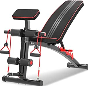 Adjustable Benches Fitness Chair Dumbbell Bench sit-ups Fitness Equipment Home Multi-Function aid Bird Bench Stool Load Capacity 150KG (Color : Black, Size : 140 * 50 * 64cm(55 * 19 * 25in))