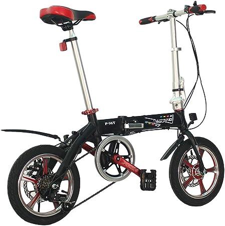 TYXTYX Bicicleta Plegable de Aluminio de 14 Pulgadas, Cambio de 6 Velocidades con Piñón Libre para Exterior, Sillin Confort,Unisex Adulto,Negro: Amazon.es: Hogar