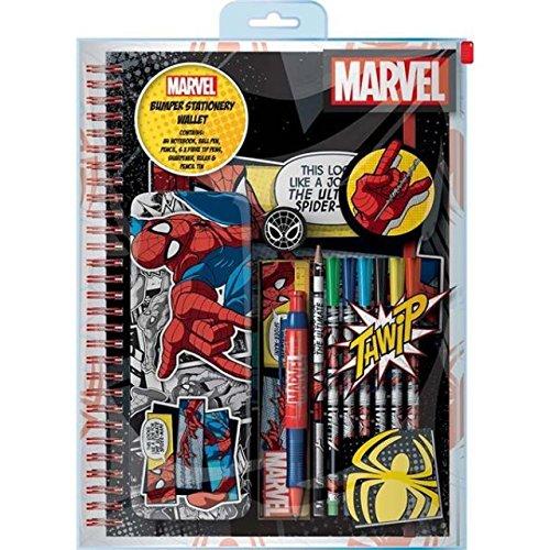 Marvel Spiderman Bumper Stationery Set A4 Notebook Pen Pencil Tin Ruler Felt Tip Pens