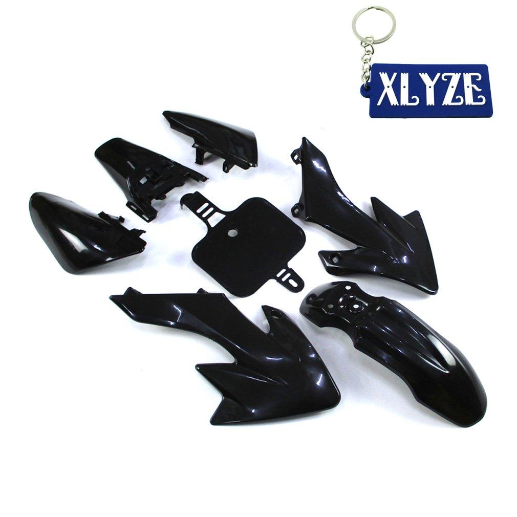 XLYZE Black-Group Motorctcly Plastic Fender Body Work Fairing Kit For SDG SSR Honda Piranha Chinese CRF50 XR50 50cc 70cc 90cc 110cc 125cc 140cc 150cc 160cc Pit Dirt Bike
