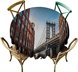 Wendell Joshua Tablecloth 36 inch New York,Manhattan Bridge Seen from Narrow Alley Island Borough Globally Influential Town NYC,Blue Red Suitable for Indoor Outdoor Round Tables