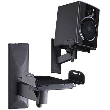 B-Tech BT77 Universal Bookshelf Speaker Wall Mount Brackets Tilt Swivel Black