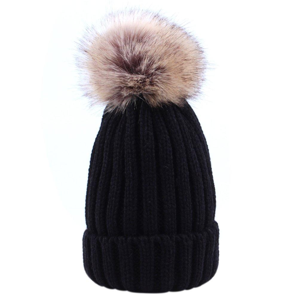 Sunbeter Inverno Cappello a maglia per bambini Simpatico cappello da berretto caldo con pompon in pelliccia per i bambini in forma per 1-5 anni