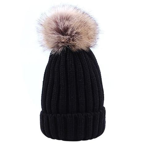 Sunbeter Hiver Bébé Tricot Chapeau Mignon Bonnet Chaud Chapeau Avec Deux  Pompons De Fourrure Pour Bébé 9759a702f57