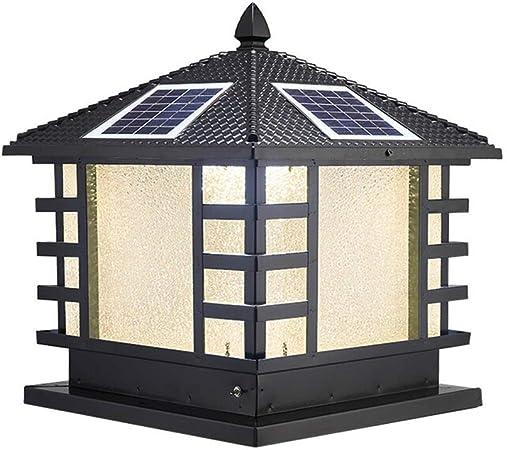 Luz de estigma de Pilar para jardín de su casa Columna Europea Faros Retro Pared del jardín Columna Faros de Aluminio Impermeable Lámpara de Pared Exterior (Color : Negro, tamaño : 50×50×56cm):