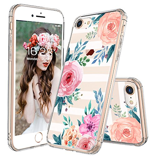 iPhone 8 Case, iPhone 7 Case, MOSNOVO Girls Blossom Stripes Floral Flower Pattern Clear Design Transparent Plastic Back Case with TPU Bumper Case Cover for Apple iPhone 7 / iPhone 8