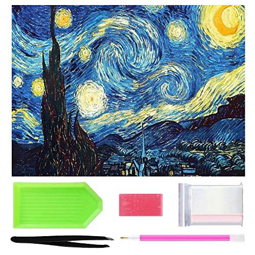 OWAY Full Drill 5D Diamond Painting 20X16 inch, Paint by Number Kits Starry Night Diamond Painting Kits for Home Wall Decor -