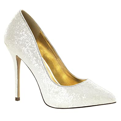 Womens Bridal Shoes Ivory Pointed Toe Pumps Glitter Shoes Wedding 5 Inch  Heels Size  5 6d3abeb19