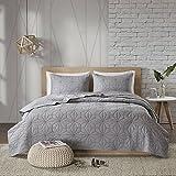 3 Piece Grey King/ Cal King Coverlet Set, Geometric Themed Reversible Bedding Modern Stylish Chic Pretty Elegant Trendy Bold Beautiful Diamond Solid Casual, Cotton