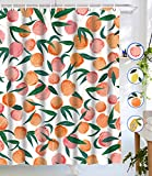 Lifeel Peach Shower Curtains, Allover Fruits Shower Curtain Cute Bright Colorful Design Waterproof Fabric Bathroom Shower Curtain Set with 12 Hooks, Peachy Pink