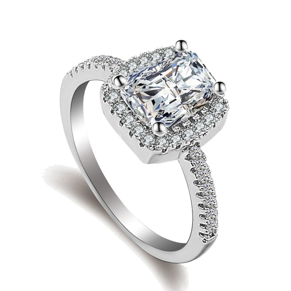925 Sterling Silver Ring Women Eternity Cubic Zirconia CZ Diamond Engagement Rings ToRhine