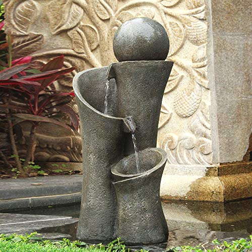 xpiyaer Modern Sphere Patio Floor Fountain 24