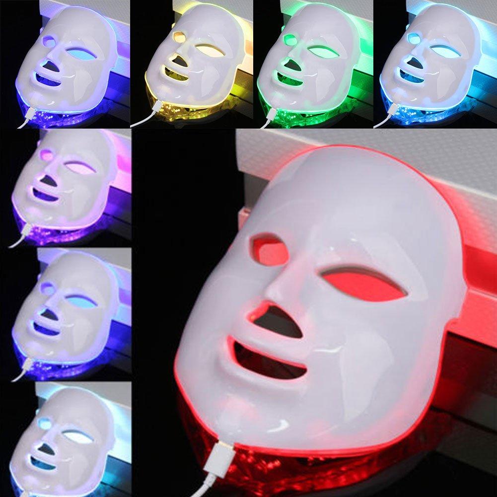 Máscara LED facial de 7 colores, tratamiento terapéutico de luz multifuncional, máquina de belleza, blanqueamiento de la piel, rejuvenecer, ...