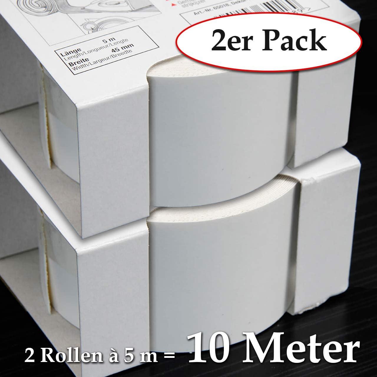 Schmelzkleber f/ür Regalb/öden und M/öbelbauplatten 2 Rollen = 10 Meter Umleimer in Weiss glatt und strukturlos 2-er Pack Melaminkantenumleimer in Wei/ß 45 mm x 5 m Rolle Kantenumleimer inkl