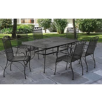 Charming Jefferson Wrought Iron 7 Piece Patio Dining Set, Seats 6