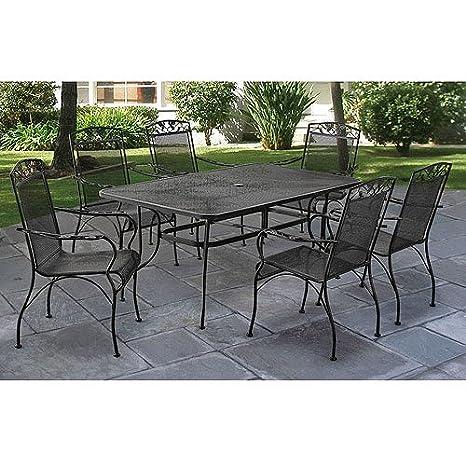 Amazing Amazon.com : Jefferson Wrought Iron 7 Piece Patio Dining Set, Seats 6 :  Garden U0026 Outdoor