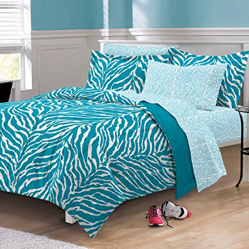 5 Piece Girls Aqua Zebra Themed Comforter Twin XL Set, Stylish All Over Zoo Animal Jungle Print Bedding, Girly Multi African Safari Animals Exotic Wildlife Pattern, Blue Turquoise White Black