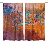 Abstract art draperies, set with two 50''x84'' panels in turquoise and orange, Southwest Archetype